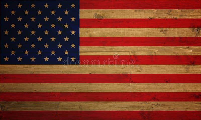 Drapeau américain recouvert avec la texture grunge - image photos stock