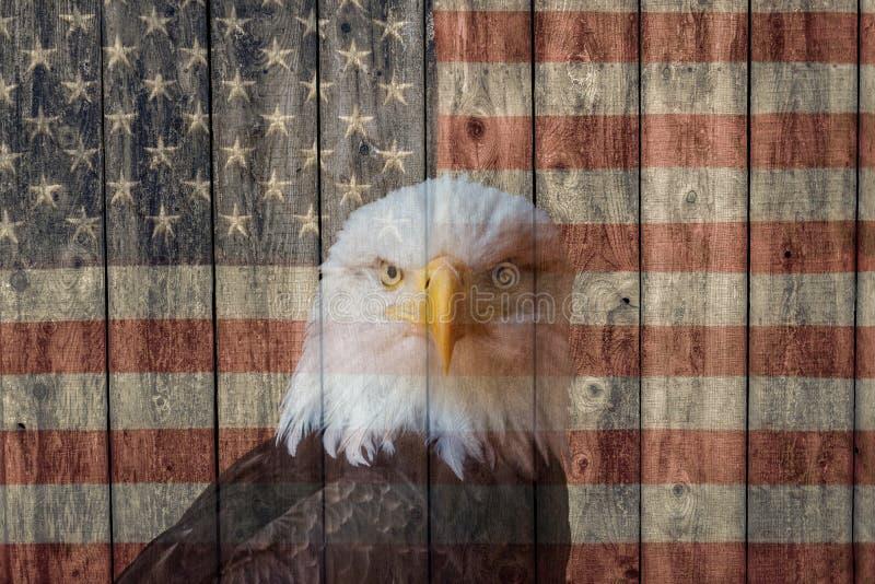 Drapeau américain vintage et aigle chauve toujours vigilant image libre de droits