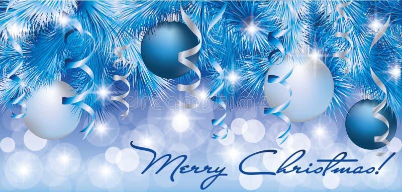 Drapeau argenté bleu de Noël illustration stock