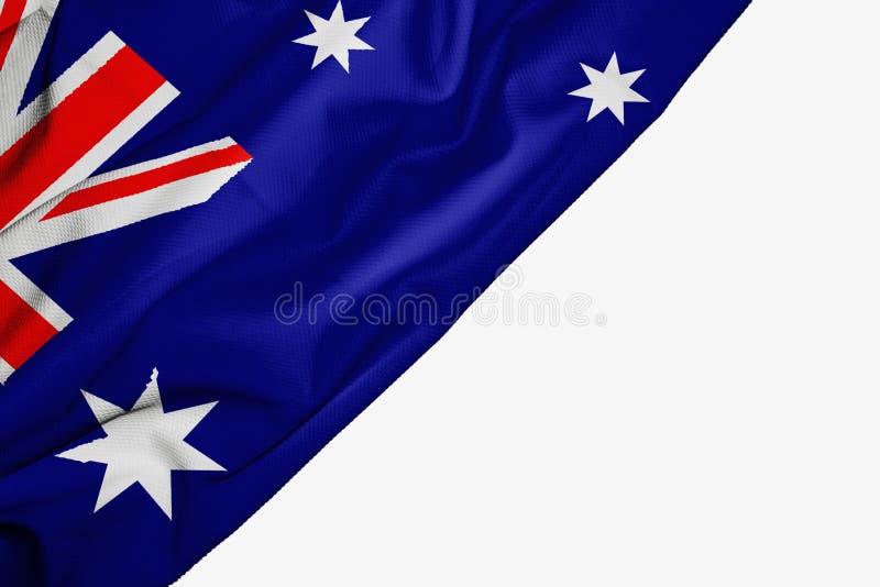 Drapeau australien de tissu avec le copyspace pour votre texte sur le fond blanc illustration libre de droits