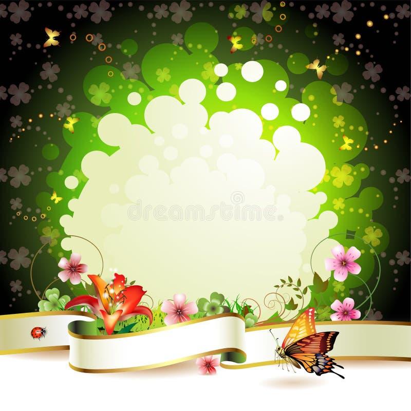 Drapeau avec des fleurs illustration de vecteur