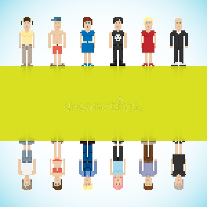 Drapeau avec des gens de Pixel illustration stock