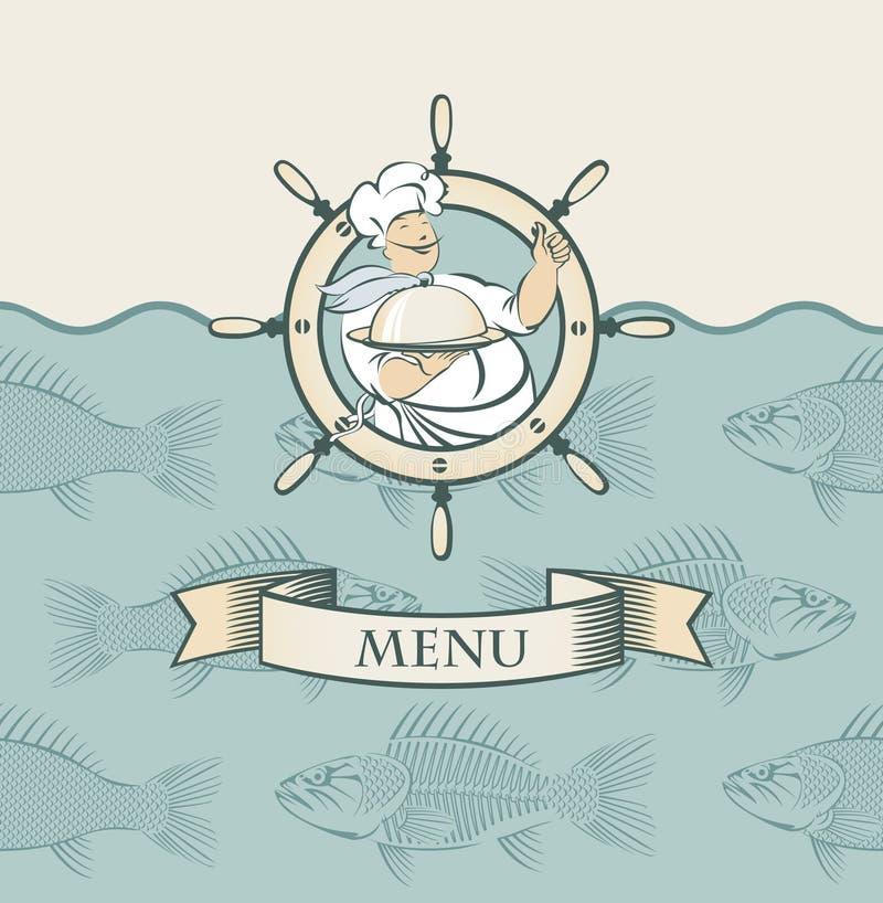 Drapeau avec le cuisinier illustration stock