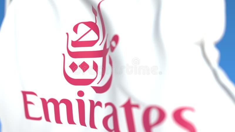 Drapeau avec logo Emirates Airline, gros plan Rendu 3D éditorial illustration libre de droits