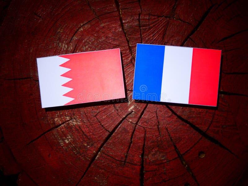 Drapeau bahreinite avec le drapeau français sur un tronçon d'arbre d'isolement photo libre de droits