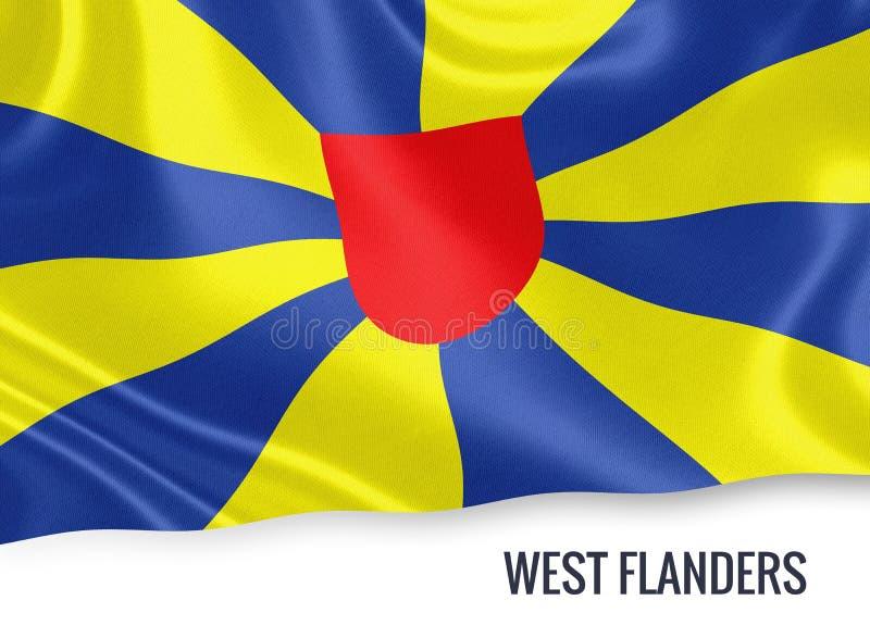 Drapeau belge de la Province de Flandre-Occidentale d'état illustration libre de droits