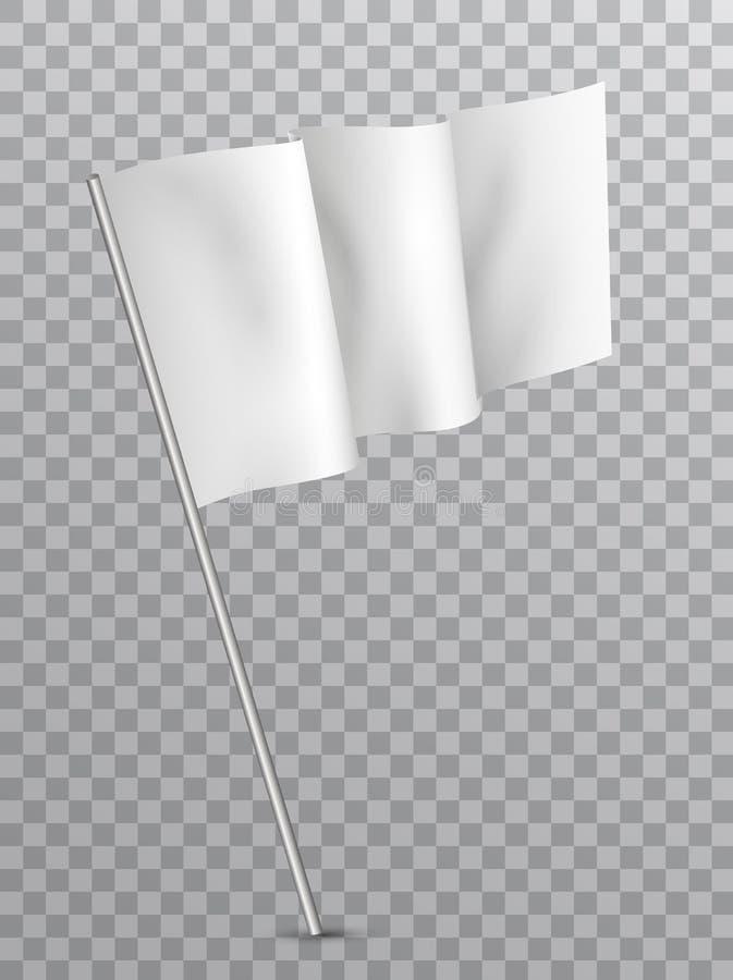 Drapeau blanc de ondulation de blanc de vecteur d'isolement sur le fond transparent illustration stock