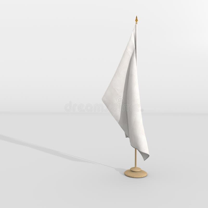 Drapeau blanc sur le mât illustration stock