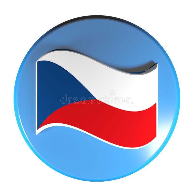 Drapeau bleu de bouton poussoir de cercle ou illustration de rendu de la République Tchèque 3D illustration libre de droits