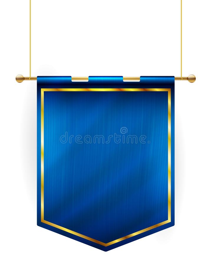 Drapeau bleu de style médiéval accrochant sur le poteau d'or illustration de vecteur