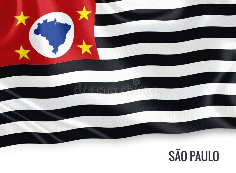 Drapeau brésilien de Sao Paulo d'état illustration stock