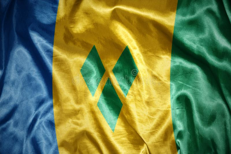 Drapeau brillant de Saint-Vincent-et-les-Grenadines illustration stock