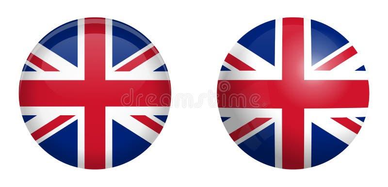 Drapeau britannique d'Union Jack sous le bouton du dôme 3d et sur la sphère/boule brillantes illustration libre de droits