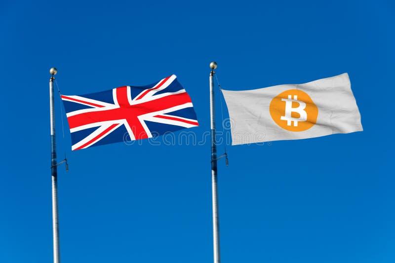 Drapeau BRITANNIQUE et drapeau de Bitcoin illustration stock