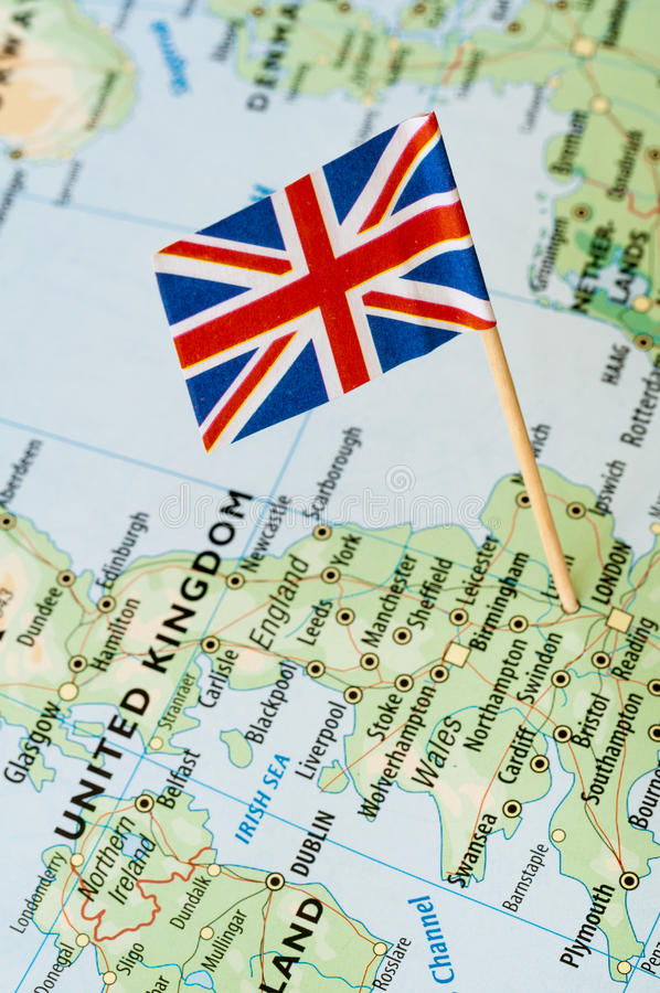 Drapeau BRITANNIQUE sur la carte photo libre de droits