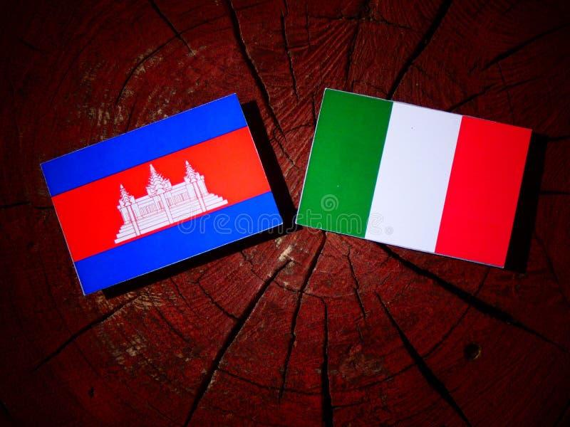 Drapeau cambodgien avec le drapeau italien sur un tronçon d'arbre d'isolement illustration libre de droits