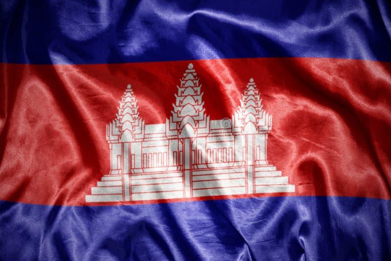 drapeau cambodgien brillant illustration libre de droits