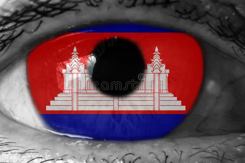 Drapeau cambodgien dans les yeux photos libres de droits
