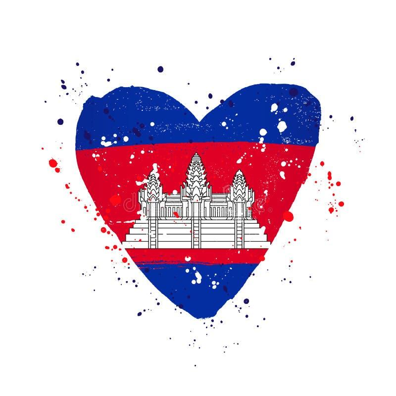 Drapeau cambodgien sous forme de grand coeur illustration de vecteur