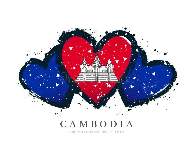 Drapeau cambodgien sous forme de trois coeurs illustration libre de droits