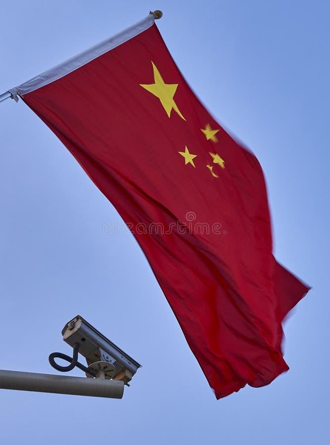 Drapeau chinois et une vidéo surveillance images stock