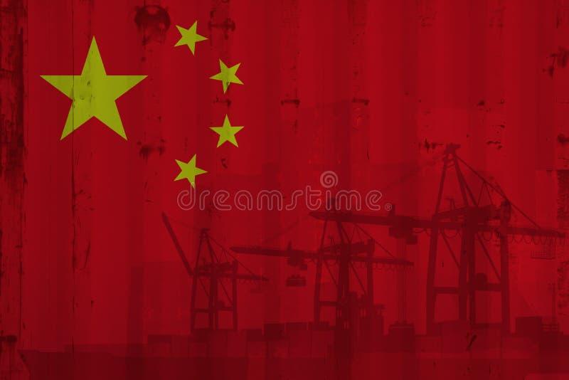 Drapeau chinois sur la feuille de conteneur illustration libre de droits