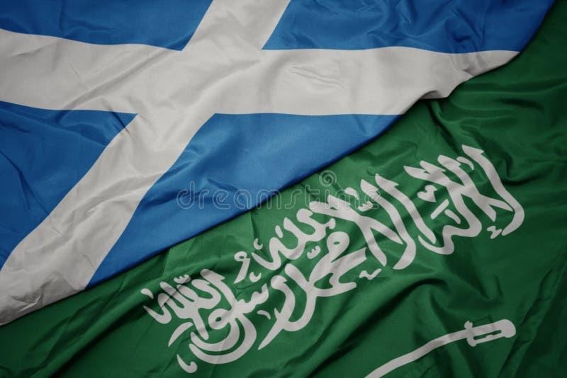 drapeau coloré d' arabie saoudite et drapeau national de l' écosse image stock