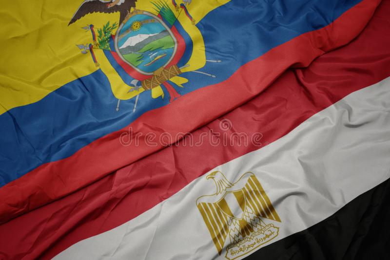 drapeau coloré de l' égypte et drapeau national de l' équateur photos libres de droits