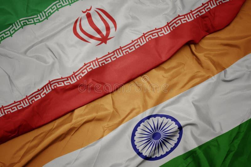 drapeau coloré de l' inde et drapeau national de l' iran image stock