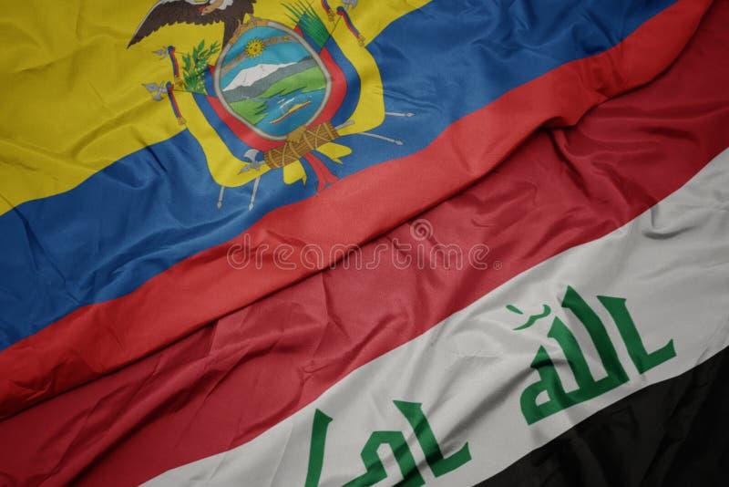 drapeau coloré de l' irak et drapeau national de l' équateur image libre de droits