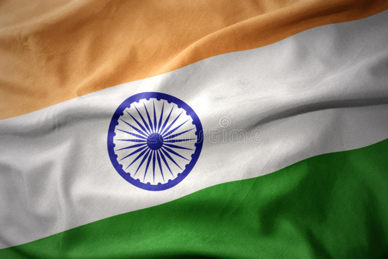Drapeau coloré de ondulation d'Inde images stock