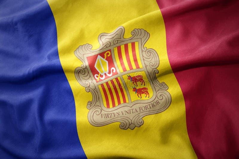 Drapeau coloré de ondulation de l'Andorre photographie stock libre de droits