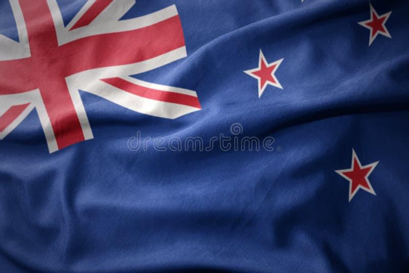 Drapeau coloré de ondulation de la Nouvelle Zélande photos stock