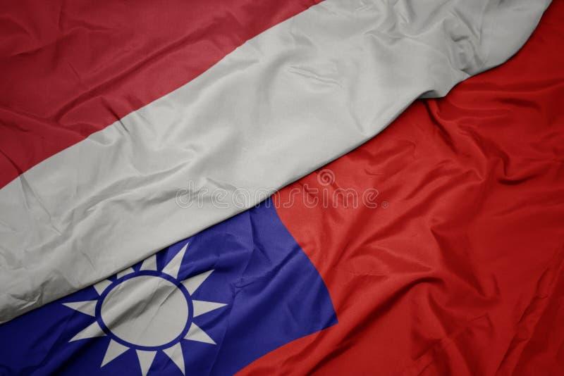 drapeau coloré de taïwan et drapeau national de l' indonésie image stock