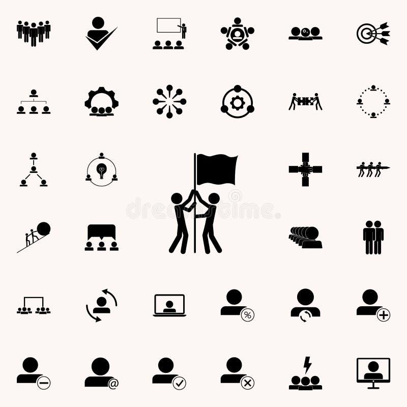 Drapeau commun soulevant l'icône Ensemble universel d'icônes de travail d'équipe pour le Web et le mobile illustration libre de droits