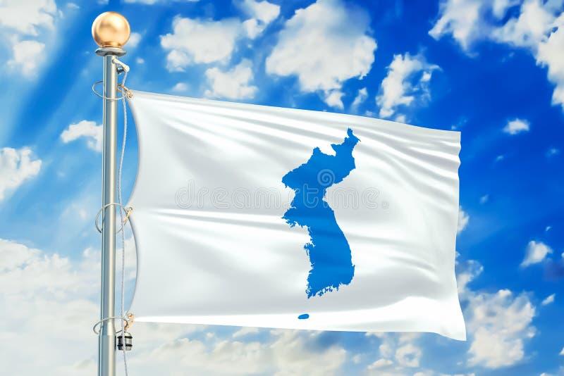 Drapeau coréen d'unification, rendu 3D illustration de vecteur