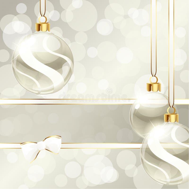 Drapeau crème avec des ornements de Noël illustration stock