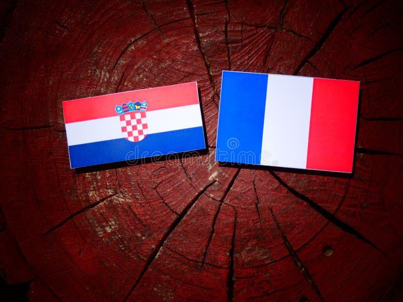 Drapeau croate avec le drapeau français sur un tronçon d'arbre d'isolement image stock