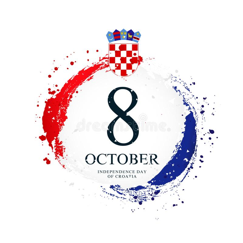 Drapeau croate sous forme de cercle 8 octobre - Jour de la Déclaration d'Indépendance en Croatie illustration stock
