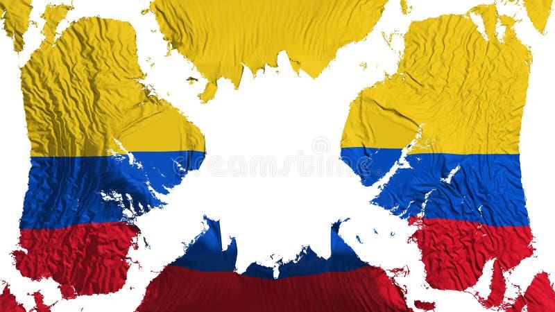 Drapeau déchiré par Colombie flottant dans le vent illustration libre de droits