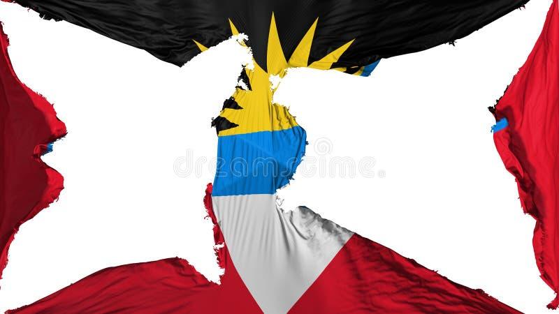 Drapeau détruit de l'Antigua-et-Barbuda illustration de vecteur