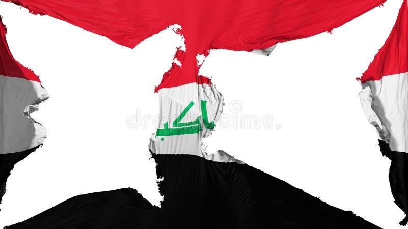 Drapeau détruit de l'Irak image stock