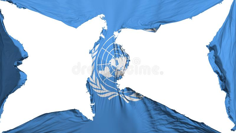 Drapeau détruit des Nations Unies illustration libre de droits