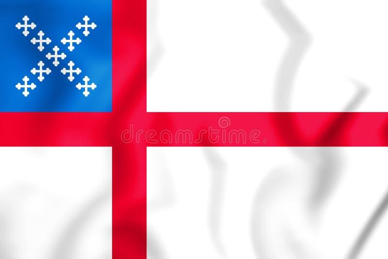 drapeau 3D d'église épiscopale Etats-Unis illustration stock