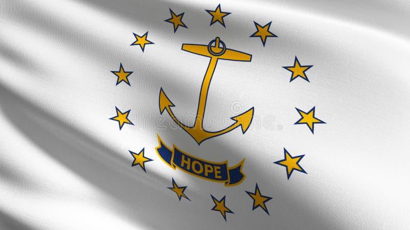 Drapeau d'état d'Île de Rhode aux Etats-Unis d'Amérique, Etats-Unis, soufflant dans le vent d'isolement Conception abstraite patr illustration stock