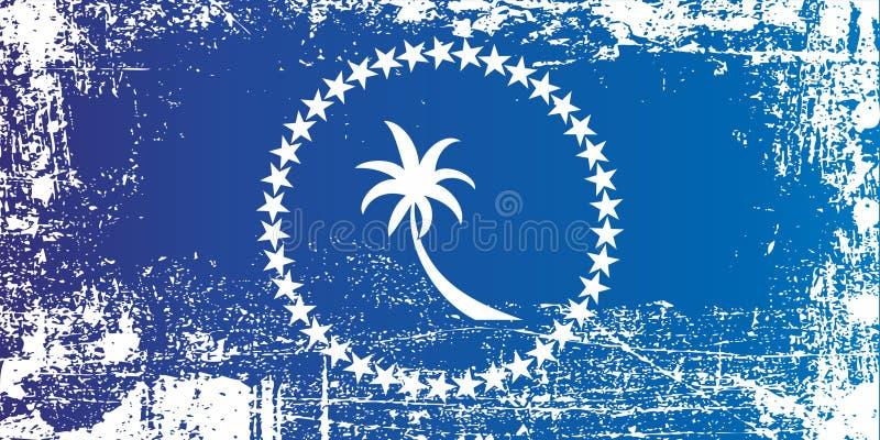 Drapeau d'état de Chuuk, Etats fédérés de Micronésie Taches sales froissées illustration de vecteur