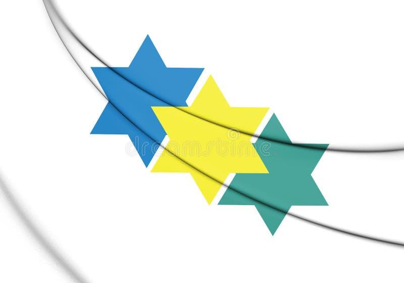drapeau 3D d'état de JI-Parana Rondonia, Brésil illustration de vecteur