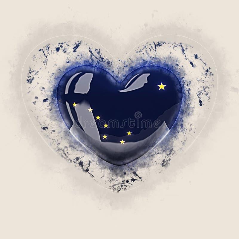 Drapeau d'état de l'Alaska sur un coeur grunge Drapeaux de gens du pays des Etats-Unis illustration libre de droits