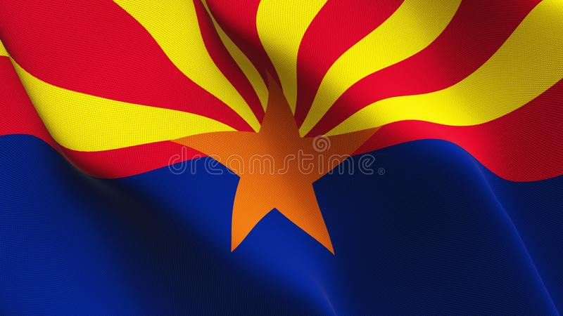 Drapeau d'état de l'Arizona USA ondulant sur le vent illustration de vecteur