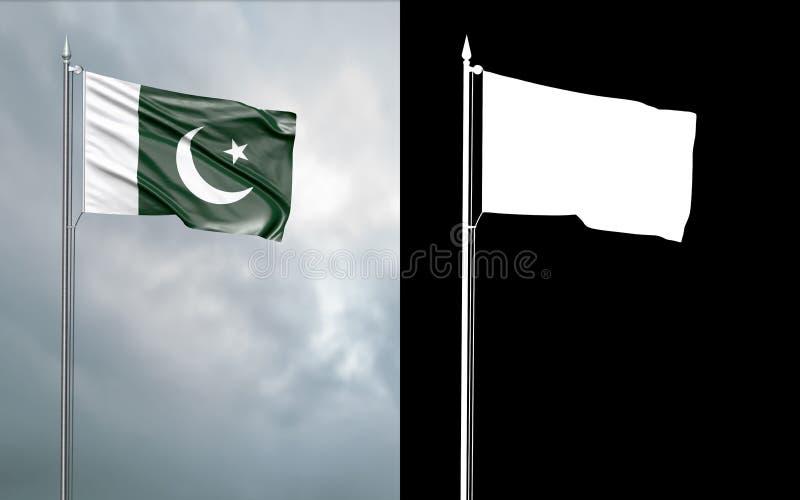 Drapeau d'état de la république du Pakistan islamique illustration de vecteur